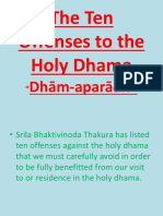The Ten Offenses to the Holy Dhama