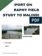 Report on Geography Field Study to Malindi