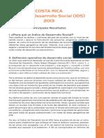 Indice de Desarrollo Social Costa Rica IDS 2013 Resumen