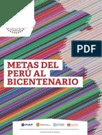 Metas Del Peru Al Bicentenario Consorcio de Universidades Libro Digital