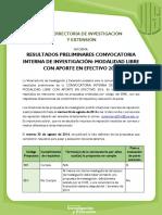 [Comunicado Vie ] Resultados Preliminares Convocatoria Interna _modalidad Libre Con Aporte en Efectivo 2016