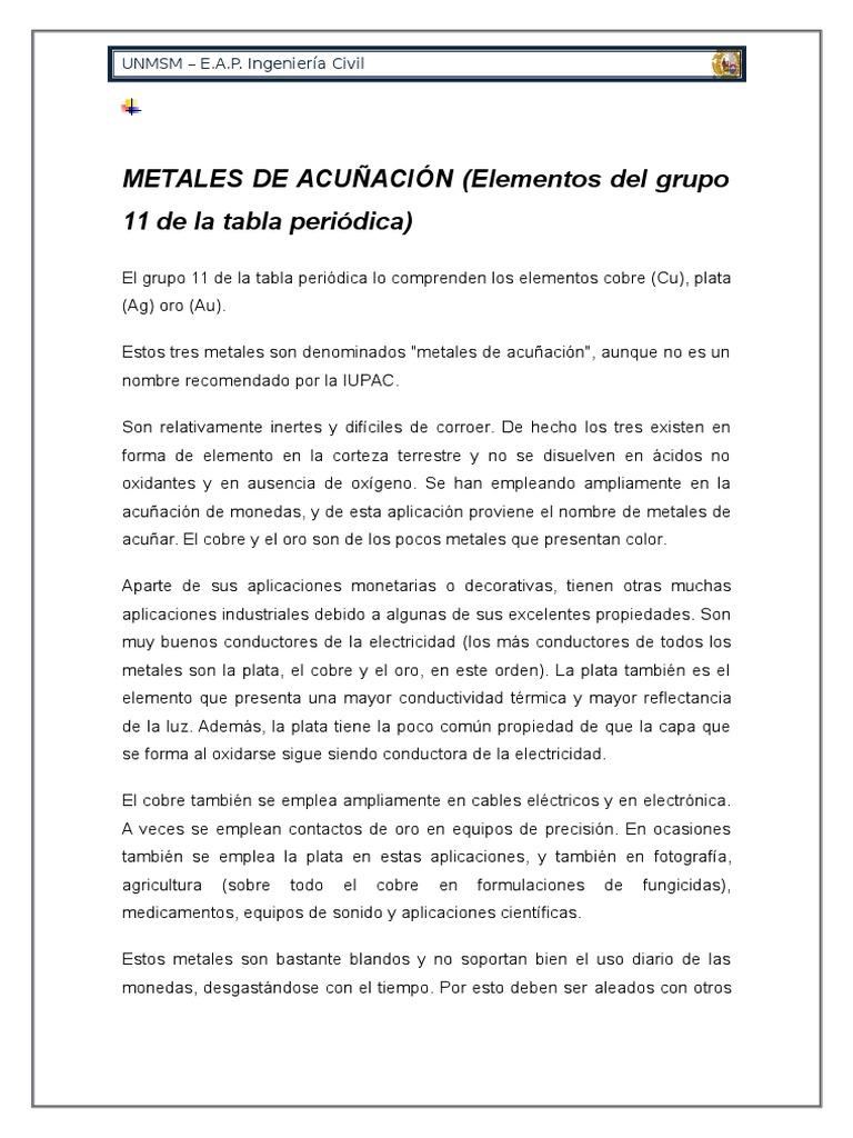 Metales de acuacion del grupo 11 urtaz Image collections