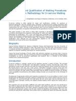 Welding Procedures and Inspection Methodology for in-Service Welding