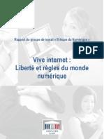 """Rapport du groupe de travail """"Ethique du Numérique"""""""