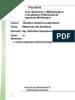 Obtencion Del Acetileno