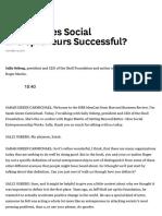 What Makes Social Entrepreneurs Successful