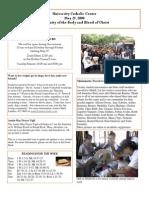 University Catholic Center Bulletin for May 25, 2008