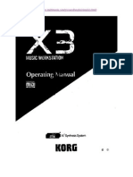 Korg X3 Music Workstation Operating Manual