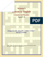 Korean to English Crossword Puzzles Level 3
