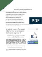Restore Temporary Internet Files Folder