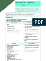 grade 1 unit plan- september
