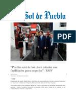 """07-09-2016 El Sol de Puebla - """"Puebla Será de Los Cinco Estados Con Facilidades Para Negocios""""; RMV"""