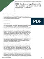 M. Kaci, Oubliées de la politique de la ville, les femmes des quartiers populaires adressent un manifeste aux candidats à l'élection présidentielle (2002)