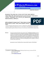 Parasitological Evaluation and Body Indices of Osteoglossum Bicirrhosum - Lemos Et Al., 2012