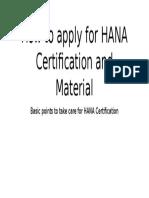 Applying for HANA Certification