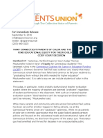 CT Parents Union CCJEF Statement
