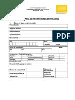 Formulario de Inscripcion Estudiantes 022016