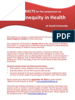Call for Abstracts Social Inequity in Health Symposium