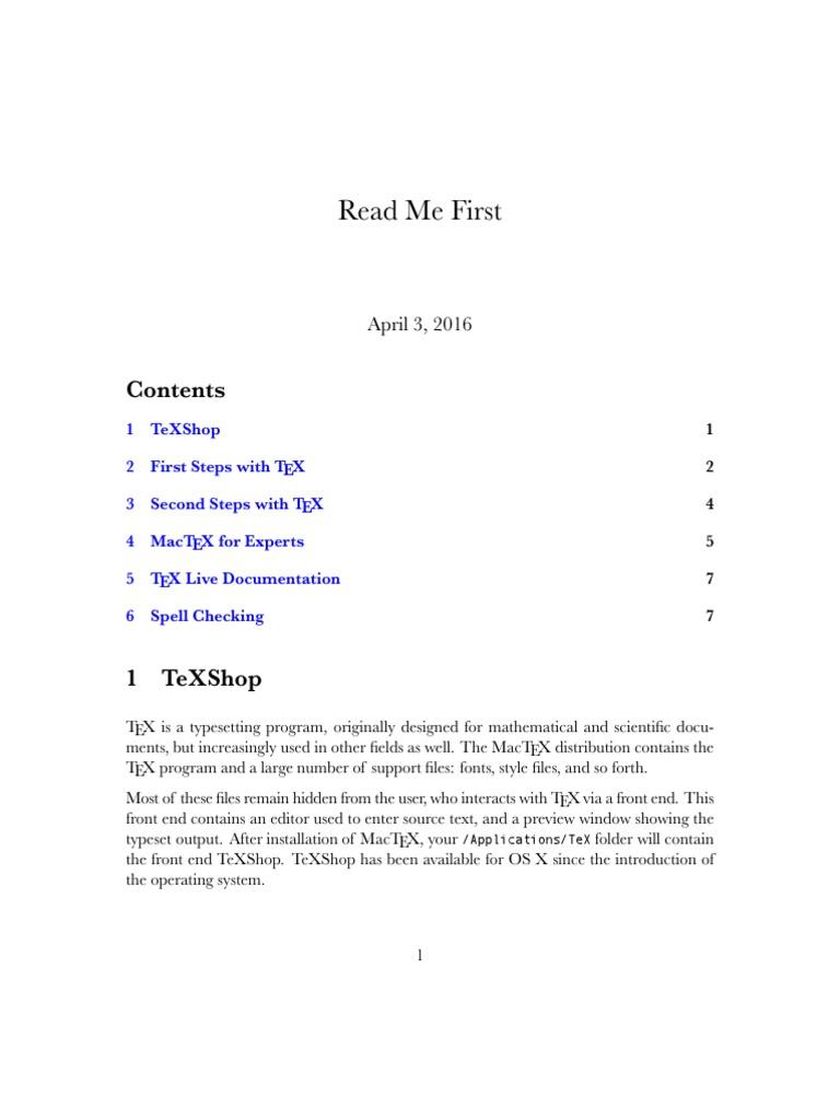 TexSHOP Guide   Te X   Software