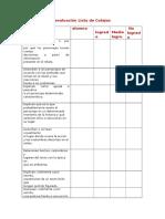 Indicadores de Evaluación Lista de Cotejos