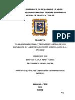 Estructura Del Proyecto Clima Organzacional y Desempeno Laboral Viru 2015