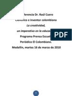 Conferencia Dr. Raúl Cuero a maestros Prensa Escuela 2010