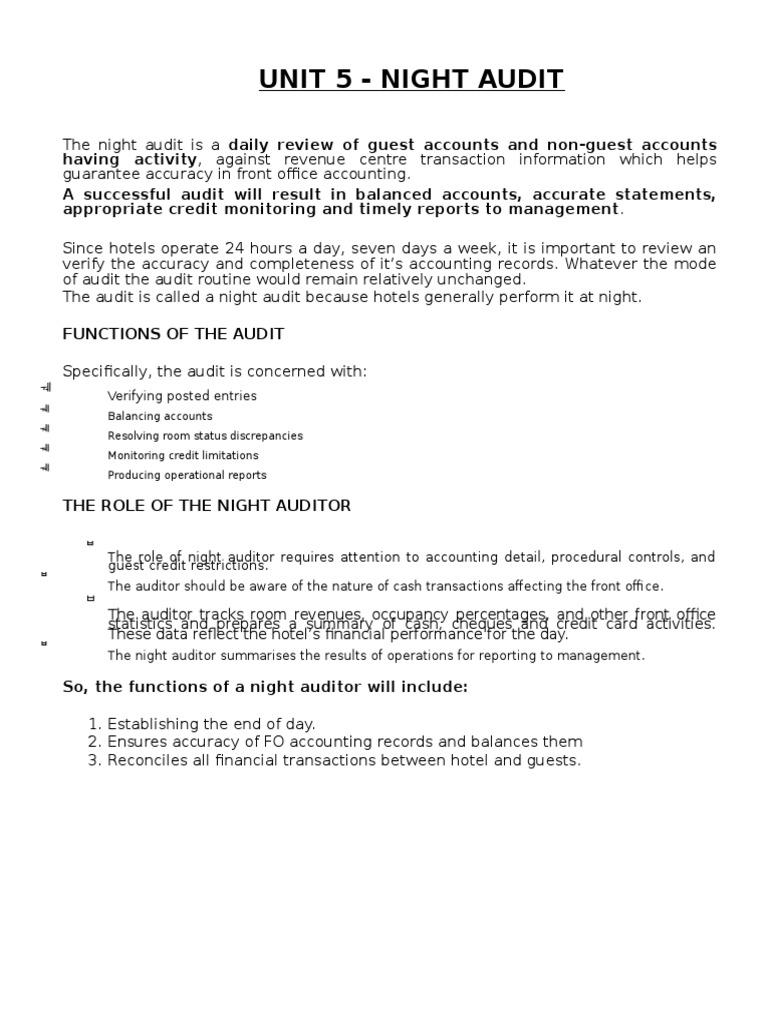 Night Audit Debits And Credits – Night Auditor Job Description