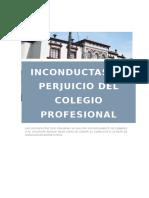 INCONDUCTAS  EN PERJUICIO DEL COLEGIO PROFESIONAL
