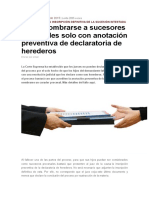 Podrá Nombrarse a Sucesores Procesales Solo Con Anotación Preventiva de Declaratoria de Herederos