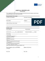 HUMERIA Template Arrival Certificate