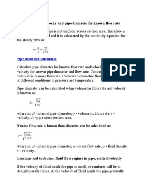 Fluid Flow Mean Velocity and Pipe Diameter for Known Flow