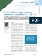 Le Contentieux Écologique Dans Le Contentieux Constitutionnel Au Bénin