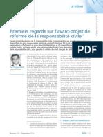 Premiers Regards Sur l'Avant-projet de Réforme de La Responsabilité Civile