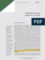 BRENEZ, Nicole. Edouard de Laurot - Engagement as Prolepsis