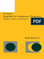 Xcritical English for Academic Purposes Theory Politics and Practice by Sarah Bensch