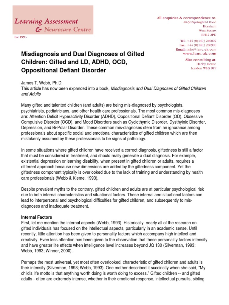 Gifted Ld Misdiagnosed And Misunderstood >> Misdiagnosis And Dual Diagnoses Of Gifted Children Intellectual
