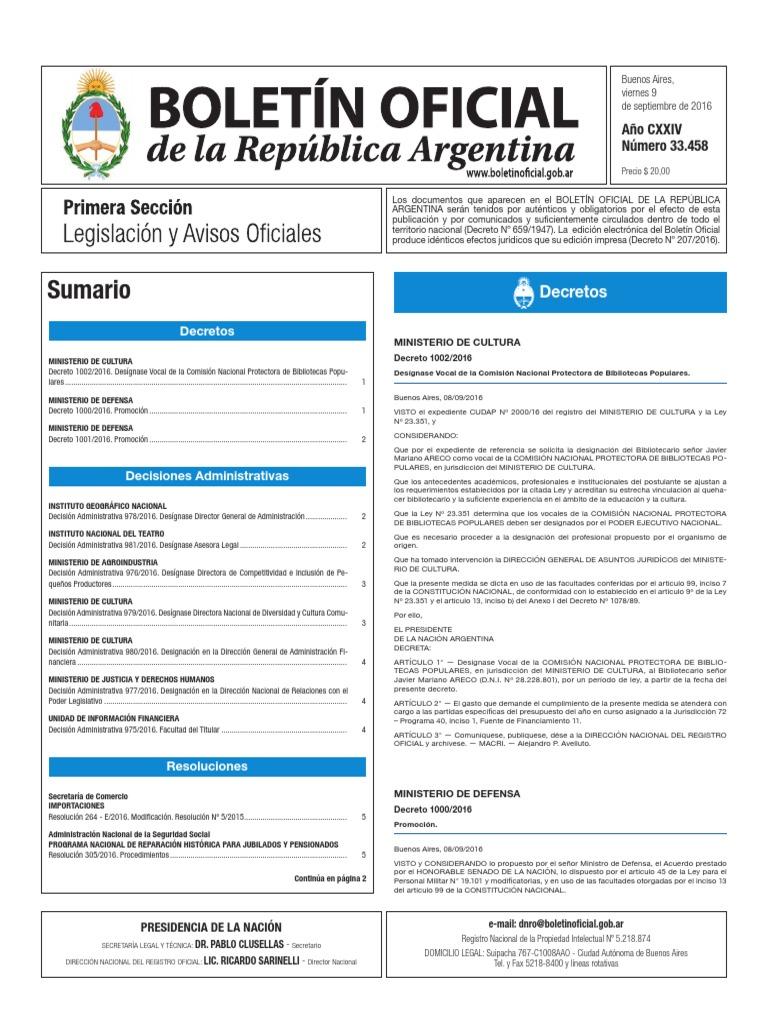 Bolet N Oficial De La Rep Blica Argentina N Mero 33 458 09 De  # Muebles Dopazo Villalonga
