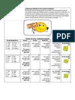Spelling Homework Calendar for the Month of September 2016