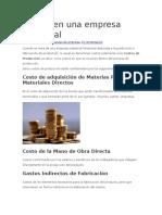 Costos en Una Empresa Industrial