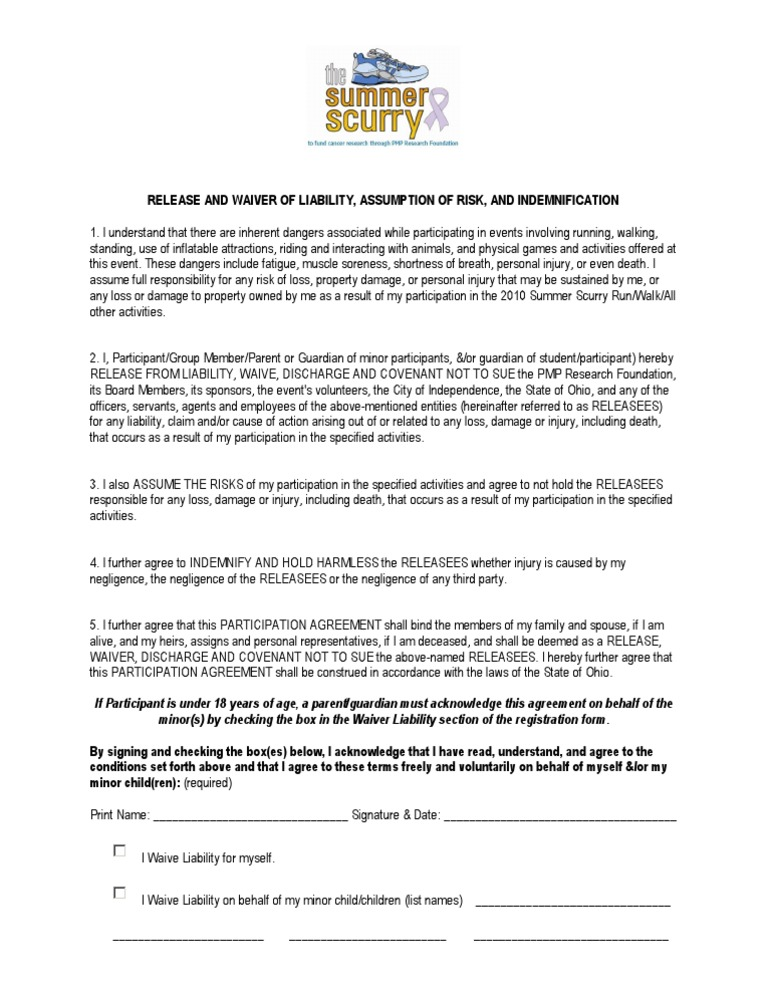 Summer Scurry Waiver Indemnity Negligence