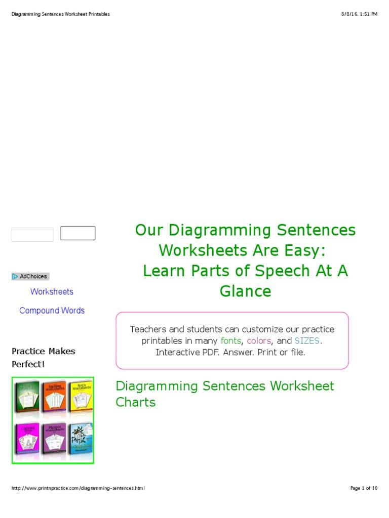 Diagramming Sentences Worksheet Printables Adverb Preposition Linking Verbs And Postposition