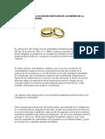 Prescripción de La Acción en Partición de Los Bienes de La Comunidad Matrimonial