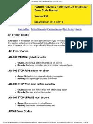 FANUC RJ3 Controller Error Code | Welding | Input/Output