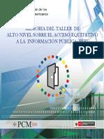 8. Memoria Del Taller de Alto Nivel Acceso Equitativo a La Información Pública - Perú