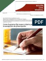 Corte Suprema Fija Nuevo Criterio Para Tramitar La Excepción de Prescripción - Actualidad Civil