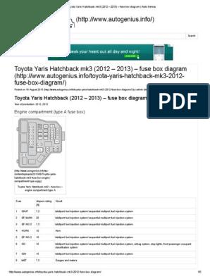 toyota yaris hatchback mk3 (2012 \u2013 2013) \u2013 fuse box diagram 2012 toyota yaris fuse box diagram cd7 2007 toyota yaris fuse box diagram