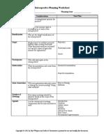 Retrospective Planning Worksheet