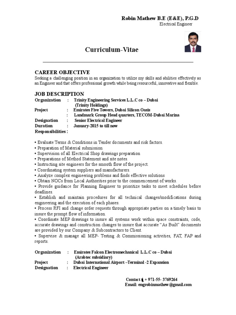 cv 83064 electrical substation power station - Electrical Engineer Responsibilities