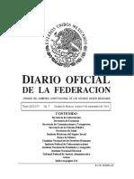 Diario Oficial de la Federación Mexicana 09092016-MAT