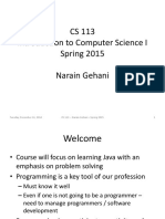 CS113 Spring 2015 Lecture Notes